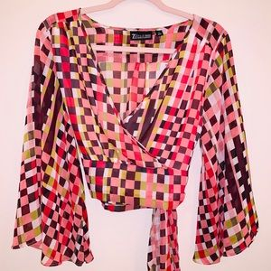 Multi Colored Bell Sleeve Blouse
